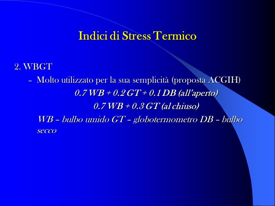 Indici di Stress Termico 2. WBGT – Molto utilizzato per la sua semplicità (proposta ACGIH) 0.7 WB + 0.2 GT + 0.1 DB (allaperto) 0.7 WB + 0.3 GT (al ch