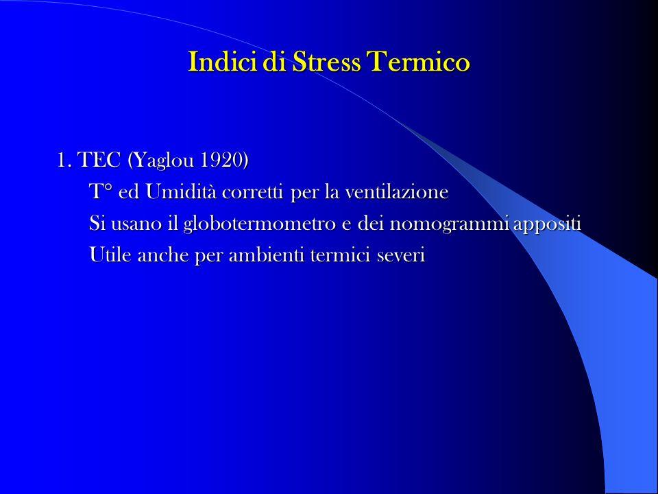 Indici di Stress Termico 1. TEC (Yaglou 1920) T° ed Umidità corretti per la ventilazione Si usano il globotermometro e dei nomogrammi appositi Utile a