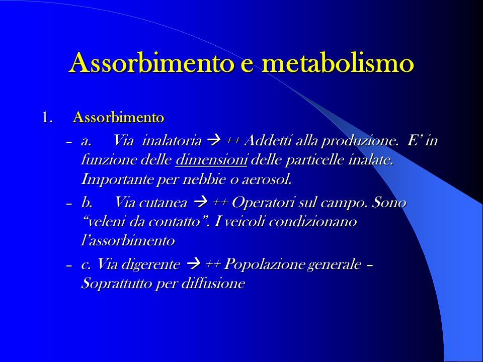 Assorbimento e metabolismo 1. Assorbimento – a. Via inalatoria ++ Addetti alla produzione. E in funzione delle dimensioni delle particelle inalate. Im