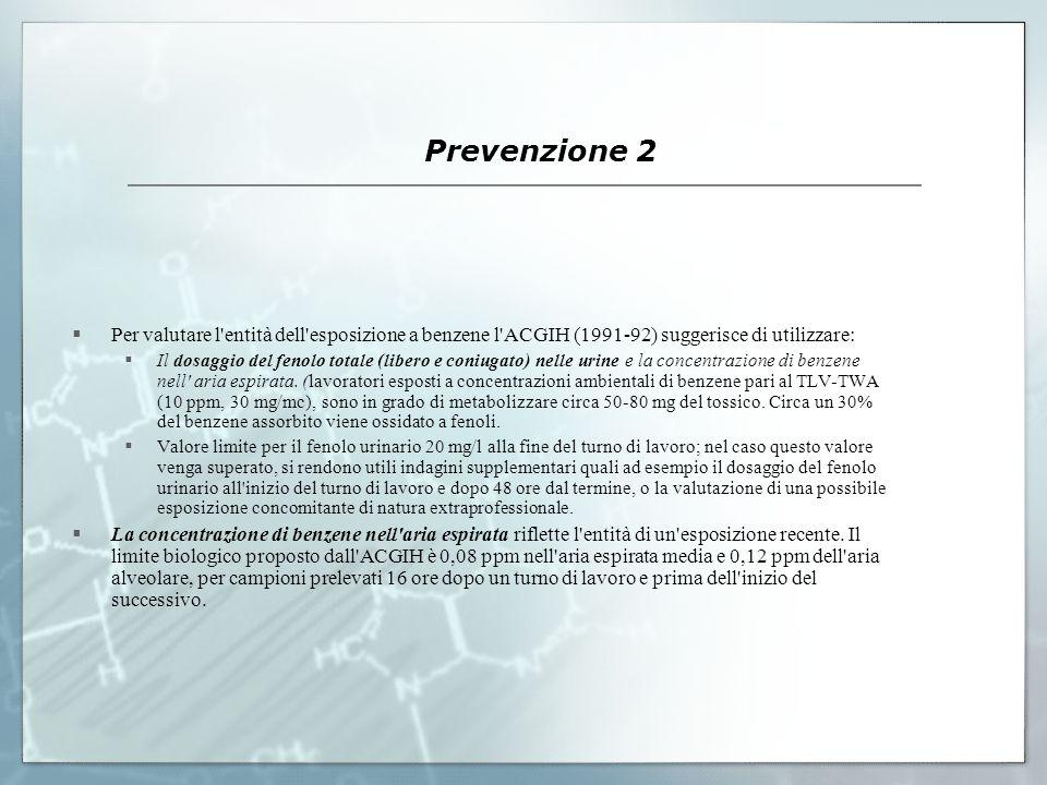 Prevenzione 2 Per valutare l'entità dell'esposizione a benzene l'ACGIH (1991-92) suggerisce di utilizzare: Il dosaggio del fenolo totale (libero e con