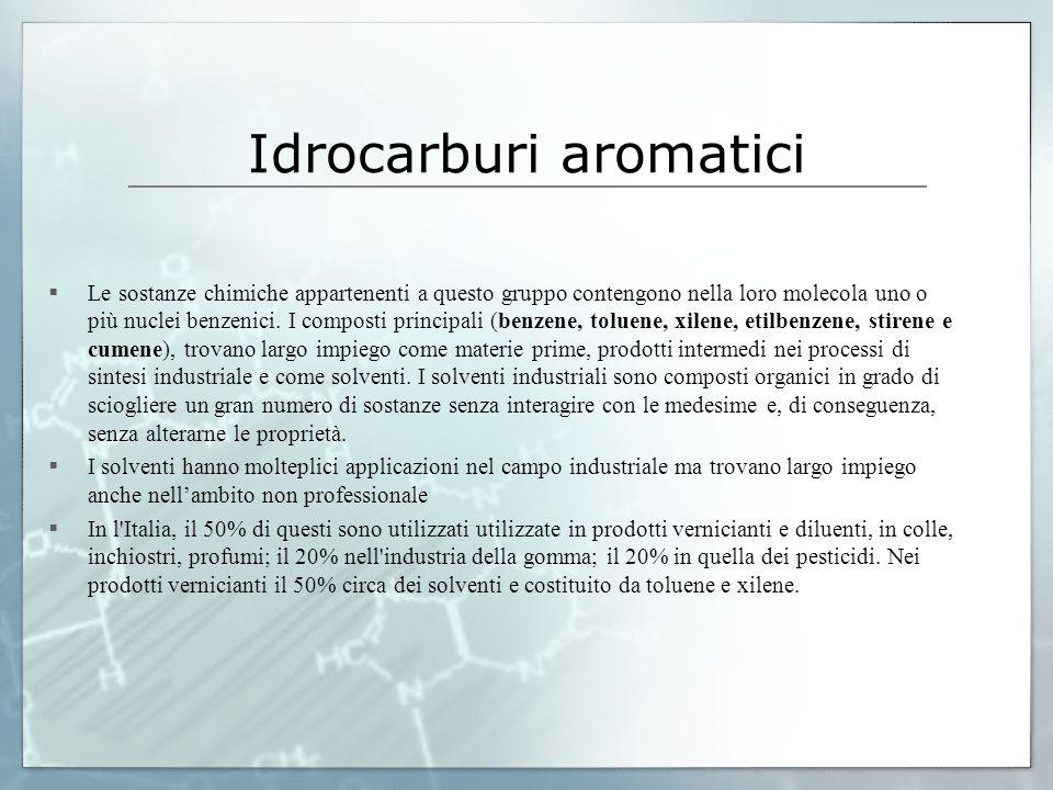 Idrocarburi aromatici Le sostanze chimiche appartenenti a questo gruppo contengono nella loro molecola uno o più nuclei benzenici. I composti principa