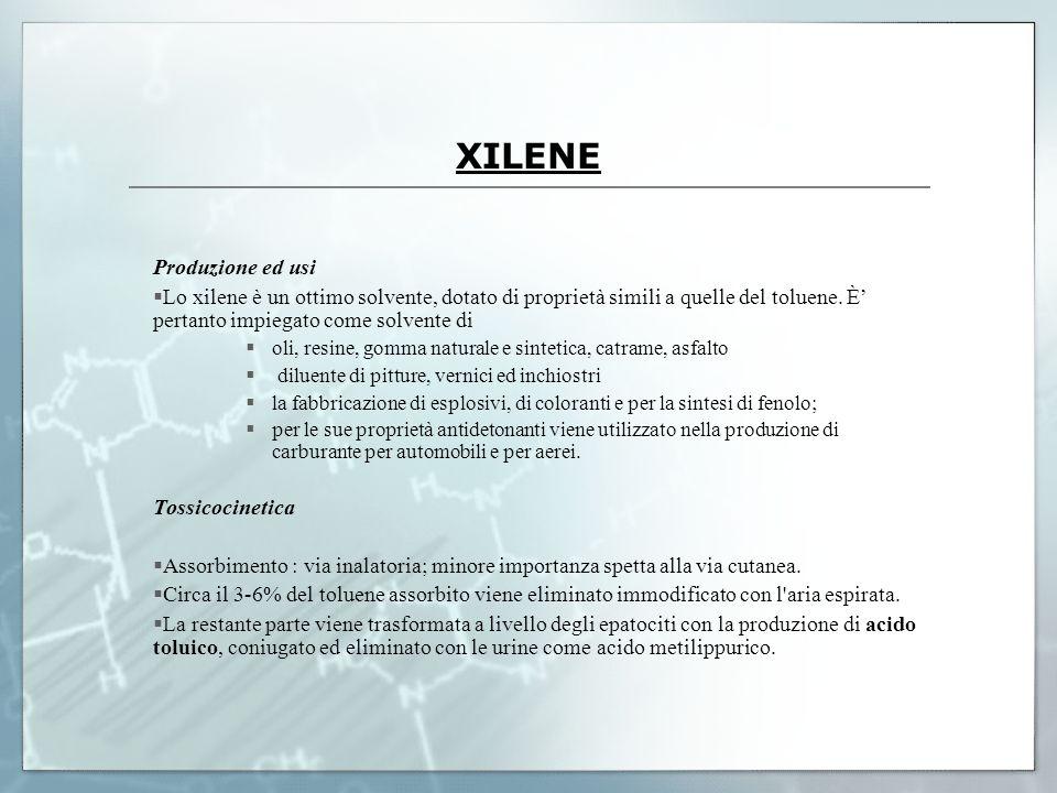 XILENE Produzione ed usi Lo xilene è un ottimo solvente, dotato di proprietà simili a quelle del toluene. È pertanto impiegato come solvente di oli, r