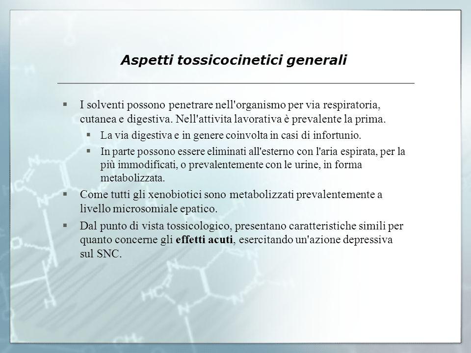 Aspetti tossicocinetici generali Gli effetti a lungo termine, invece hanno un andamento differente per i diversi composti; in particolare il benzene è un potente mielotossico, mentre i suoi omologhi non sono dotati di tale attività.