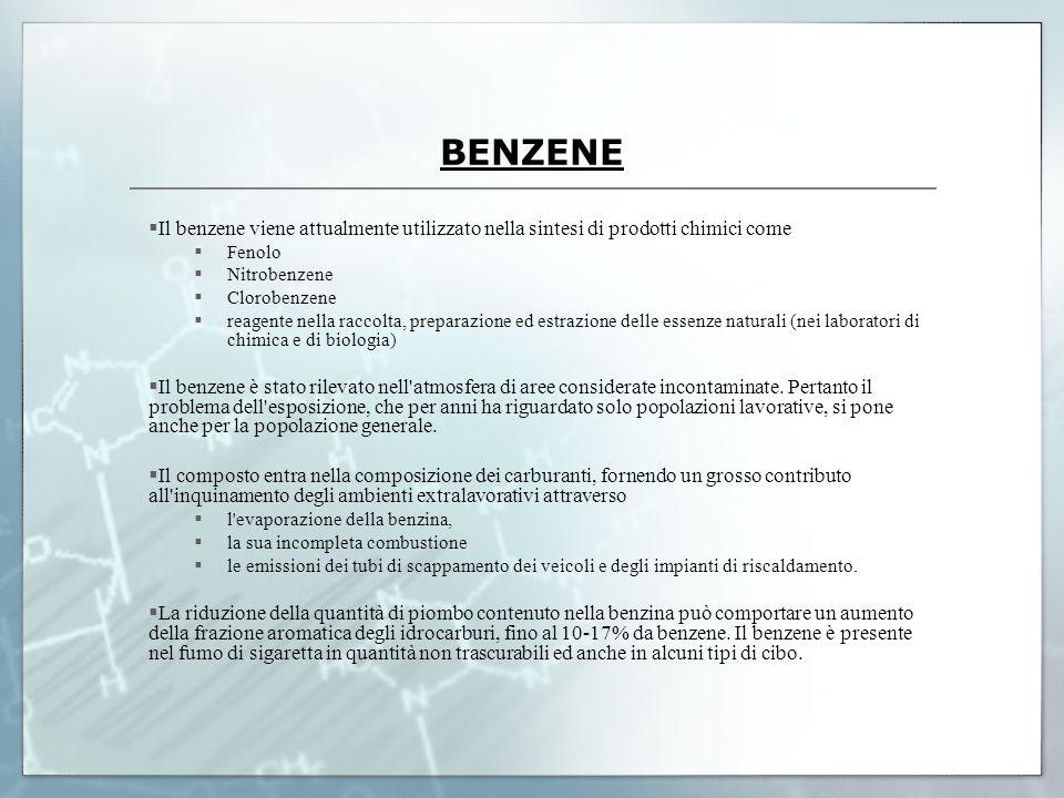 BENZENE Il benzene viene attualmente utilizzato nella sintesi di prodotti chimici come Fenolo Nitrobenzene Clorobenzene reagente nella raccolta, prepa