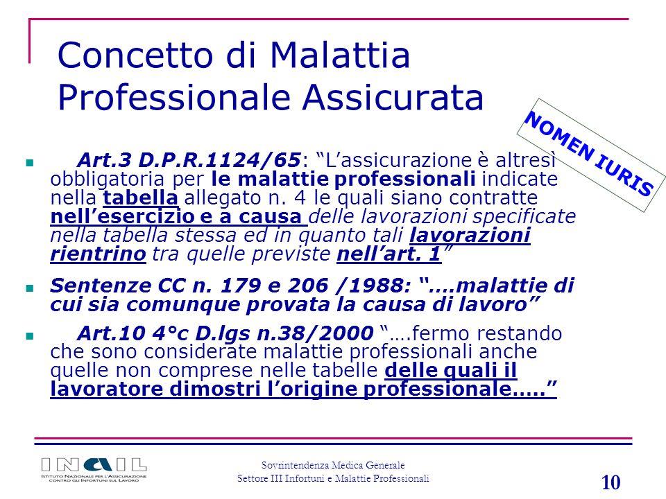 10 Sovrintendenza Medica Generale Settore III Infortuni e Malattie Professionali Concetto di Malattia Professionale Assicurata NOMEN IURIS Art.3 D.P.R