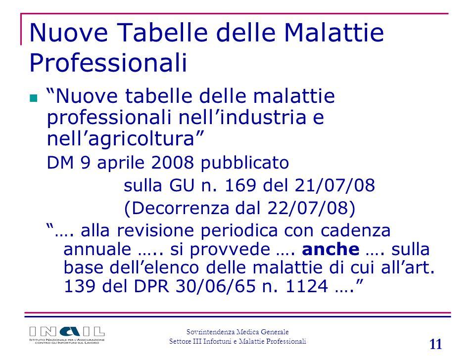 11 Sovrintendenza Medica Generale Settore III Infortuni e Malattie Professionali Nuove Tabelle delle Malattie Professionali Nuove tabelle delle malatt