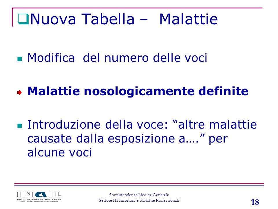 18 Sovrintendenza Medica Generale Settore III Infortuni e Malattie Professionali Nuova Tabella – Malattie Modifica del numero delle voci Malattie noso