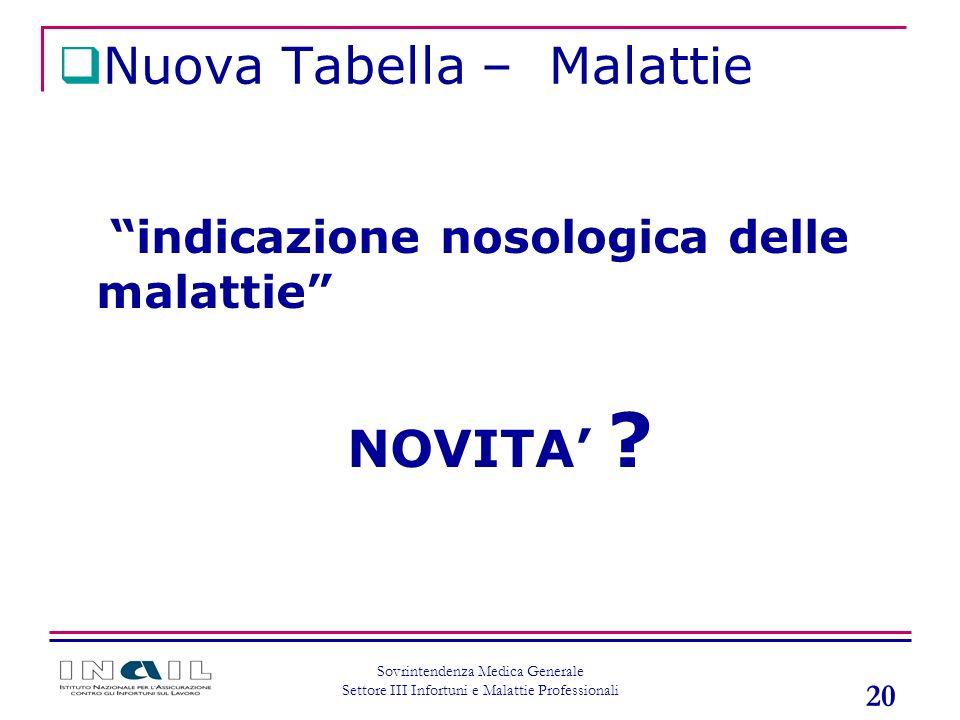 20 Sovrintendenza Medica Generale Settore III Infortuni e Malattie Professionali indicazione nosologica delle malattie NOVITA ? Nuova Tabella – Malatt