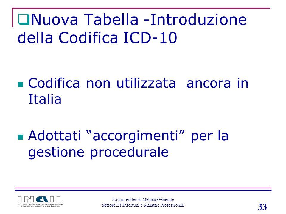 33 Sovrintendenza Medica Generale Settore III Infortuni e Malattie Professionali Codifica non utilizzata ancora in Italia Adottati accorgimenti per la