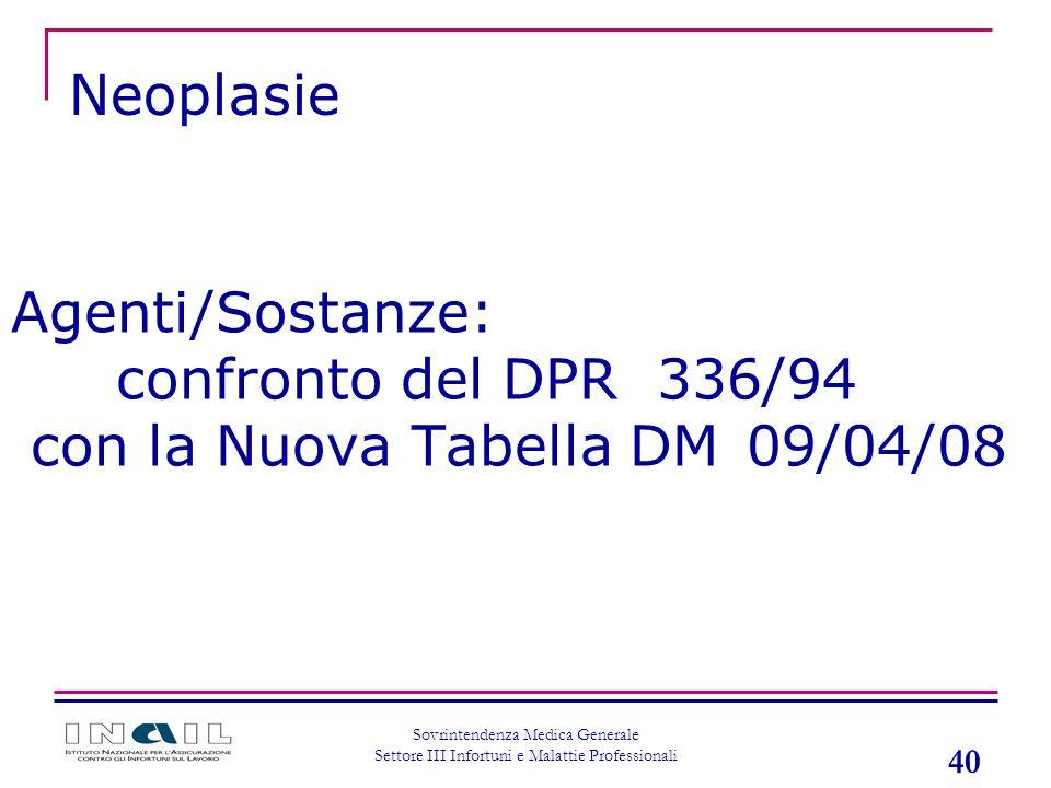 40 Sovrintendenza Medica Generale Settore III Infortuni e Malattie Professionali Agenti/Sostanze: confronto del DPR 336/94 con la Nuova Tabella DM 09/