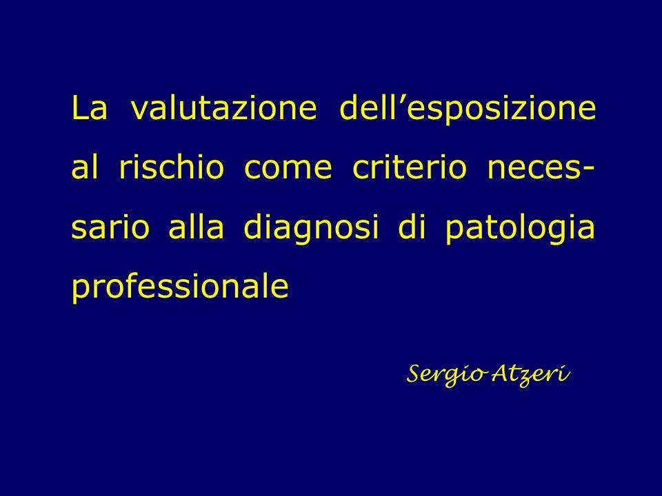 La valutazione dellesposizione al rischio come criterio neces- sario alla diagnosi di patologia professionale Sergio Atzeri