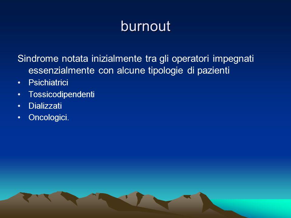 burnout Sindrome notata inizialmente tra gli operatori impegnati essenzialmente con alcune tipologie di pazienti Psichiatrici Tossicodipendenti Dializ