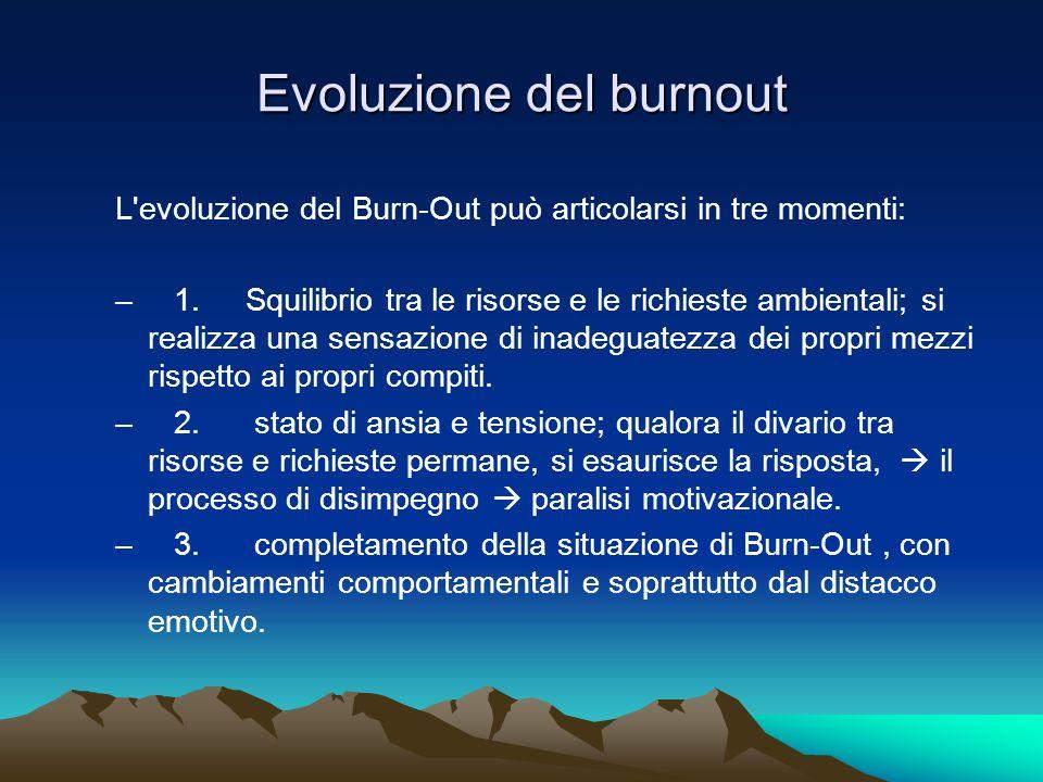Evoluzione del burnout L'evoluzione del Burn-Out può articolarsi in tre momenti: – 1. Squilibrio tra le risorse e le richieste ambientali; si realizza