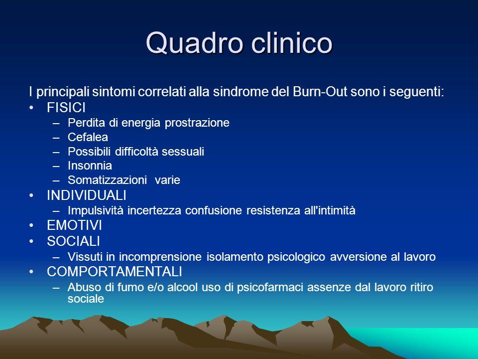 Quadro clinico I principali sintomi correlati alla sindrome del Burn-Out sono i seguenti: FISICI –Perdita di energia prostrazione –Cefalea –Possibili