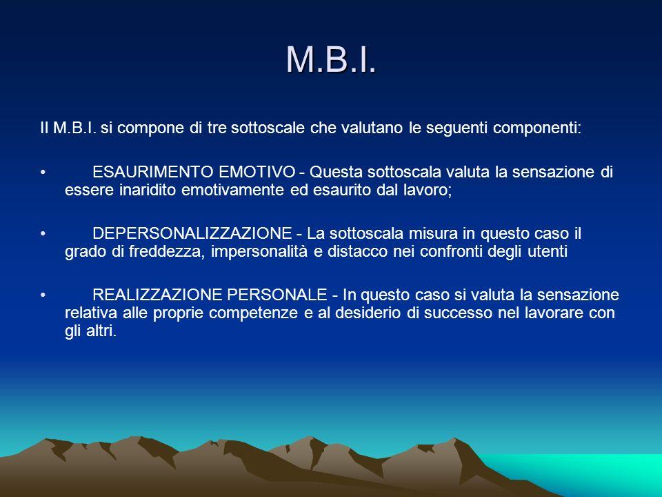 M.B.I. Il M.B.I. si compone di tre sottoscale che valutano le seguenti componenti: ESAURIMENTO EMOTIVO - Questa sottoscala valuta la sensazione di ess