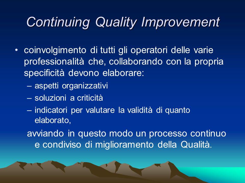 Continuing Quality Improvement coinvolgimento di tutti gli operatori delle varie professionalità che, collaborando con la propria specificità devono e