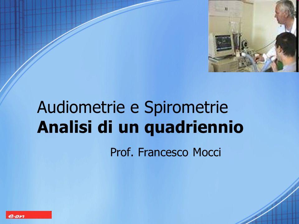 Audiometrie e Spirometrie Analisi di un quadriennio Prof. Francesco Mocci