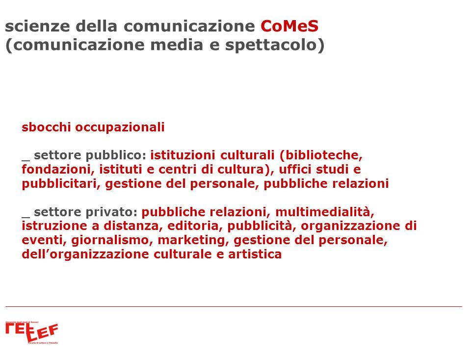 sbocchi occupazionali _ settore pubblico: istituzioni culturali (biblioteche, fondazioni, istituti e centri di cultura), uffici studi e pubblicitari,