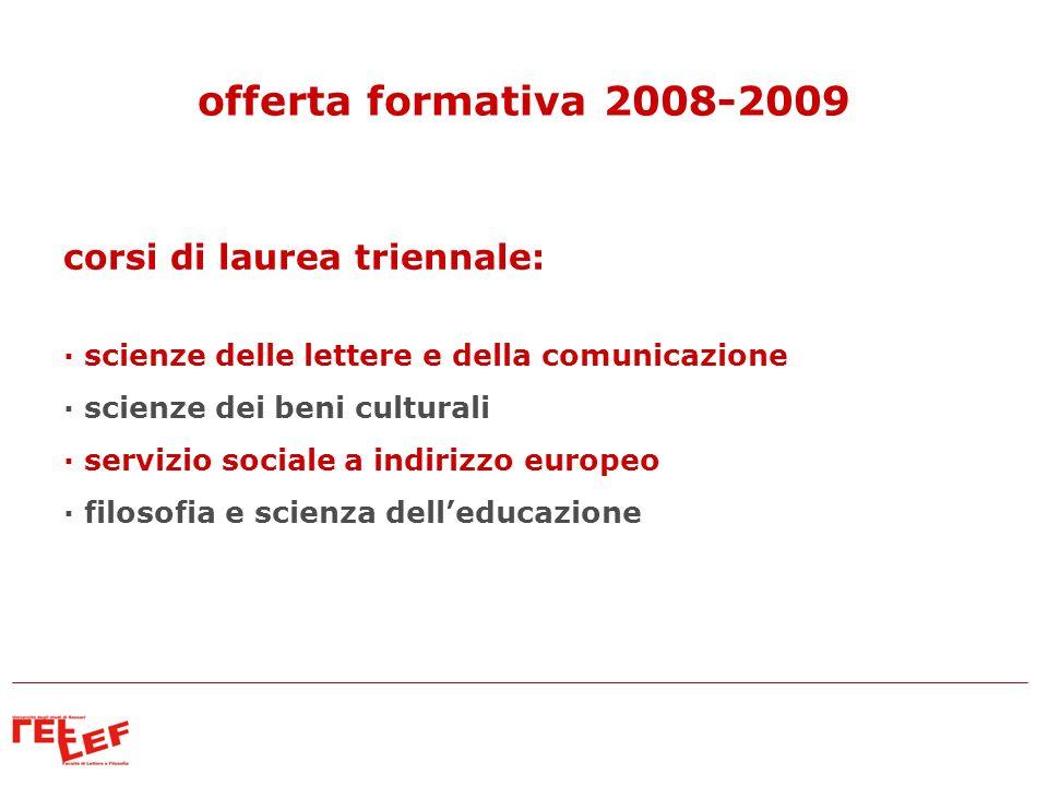 corsi di laurea triennale: · scienze delle lettere e della comunicazione · scienze dei beni culturali · servizio sociale a indirizzo europeo · filosof