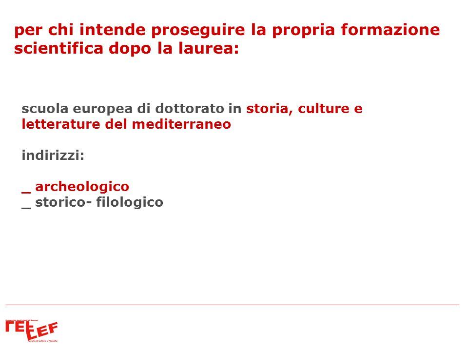 per chi intende proseguire la propria formazione scientifica dopo la laurea: scuola europea di dottorato in storia, culture e letterature del mediterr
