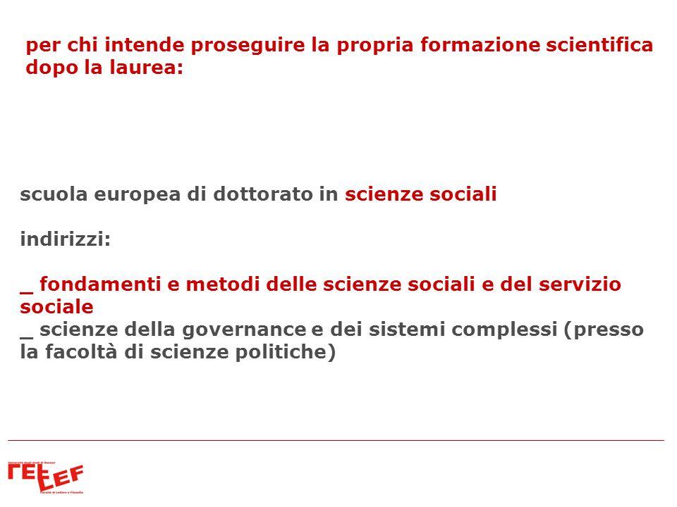 scuola europea di dottorato in scienze sociali indirizzi: _ fondamenti e metodi delle scienze sociali e del servizio sociale _ scienze della governanc