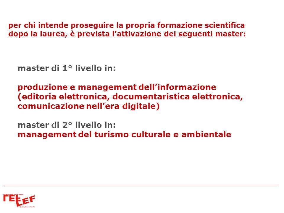 master di 1° livello in: produzione e management dellinformazione (editoria elettronica, documentaristica elettronica, comunicazione nellera digitale)