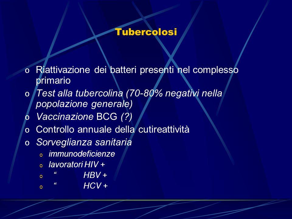 Tubercolosi o Riattivazione dei batteri presenti nel complesso primario o Test alla tubercolina (70-80% negativi nella popolazione generale) o Vaccina