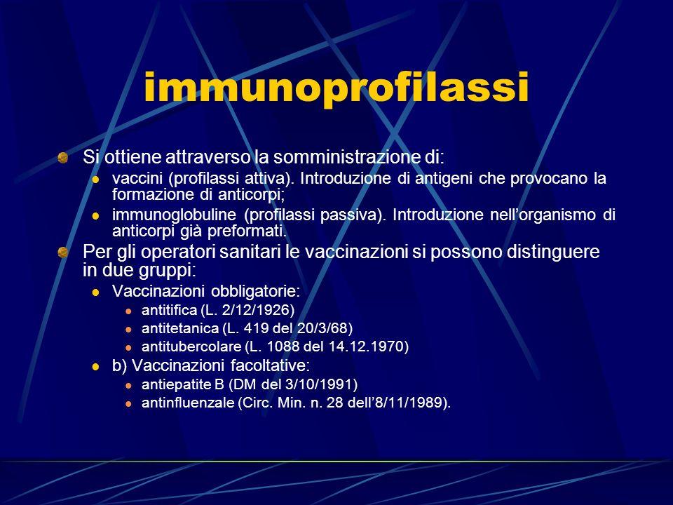 immunoprofilassi Si ottiene attraverso la somministrazione di: vaccini (profilassi attiva). Introduzione di antigeni che provocano la formazione di an