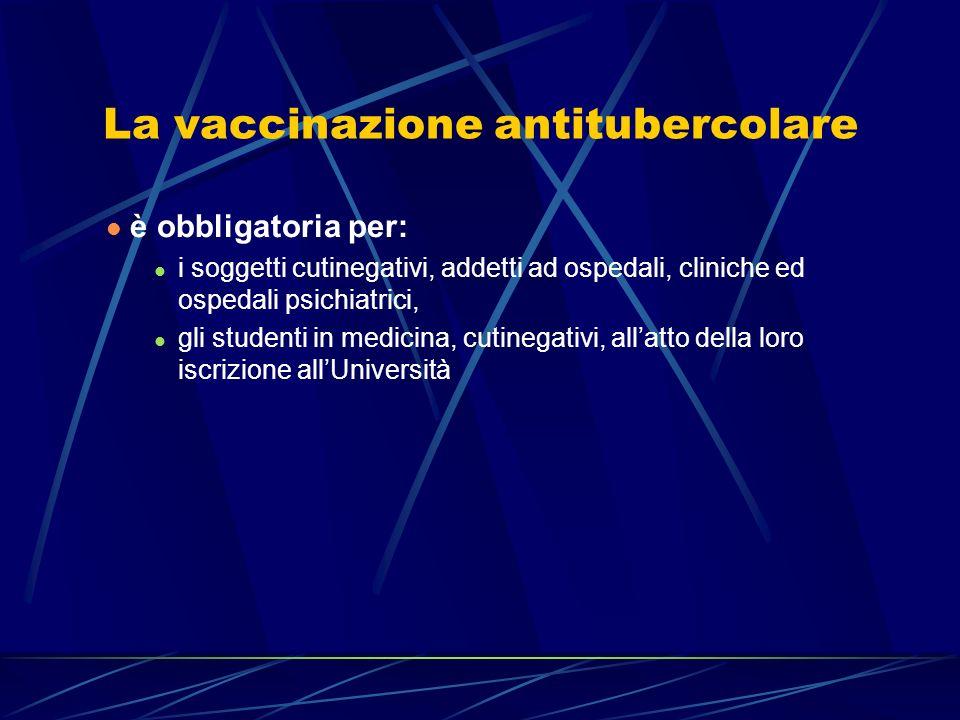 La vaccinazione antitubercolare è obbligatoria per: i soggetti cutinegativi, addetti ad ospedali, cliniche ed ospedali psichiatrici, gli studenti in m