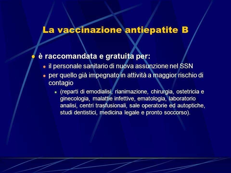La vaccinazione antiepatite B è raccomandata e gratuita per: il personale sanitario di nuova assunzione nel SSN per quello già impegnato in attività a