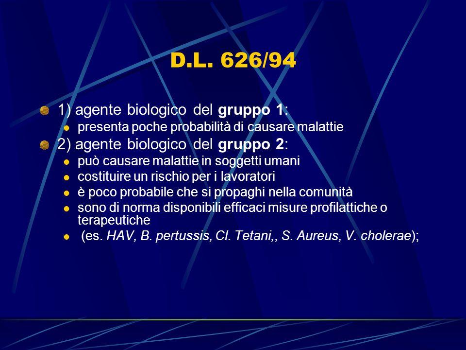 D.L. 626/94 1) agente biologico del gruppo 1: presenta poche probabilità di causare malattie 2) agente biologico del gruppo 2: può causare malattie in