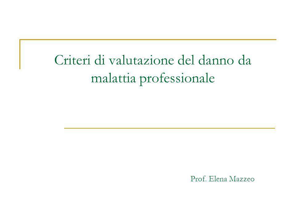 Criteri di valutazione del danno da malattia professionale Prof. Elena Mazzeo