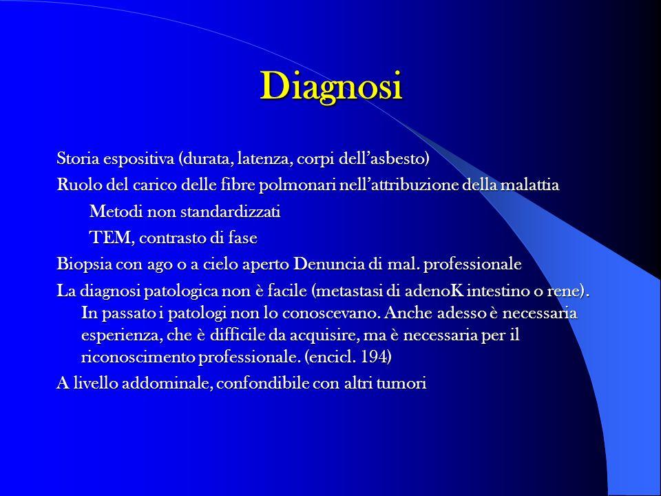 Diagnosi Storia espositiva (durata, latenza, corpi dellasbesto) Ruolo del carico delle fibre polmonari nellattribuzione della malattia Metodi non stan