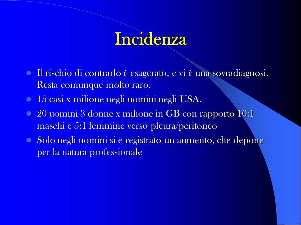 Incidenza - E un tumore della pleura fortemente associato in studi epidemiologici con storia di esposizione ad asbesto che è dimostrabile nel 70-80% dei casi.
