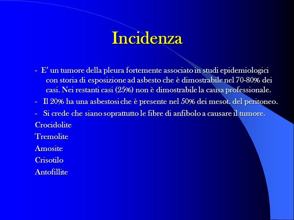 Incidenza - E un tumore della pleura fortemente associato in studi epidemiologici con storia di esposizione ad asbesto che è dimostrabile nel 70-80% d