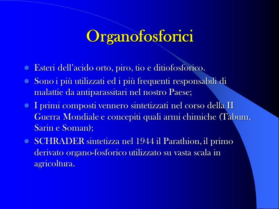 Organofosforici Esteri dellacido orto, piro, tio e ditiofosforico. Esteri dellacido orto, piro, tio e ditiofosforico. Sono i più utilizzati ed i più f