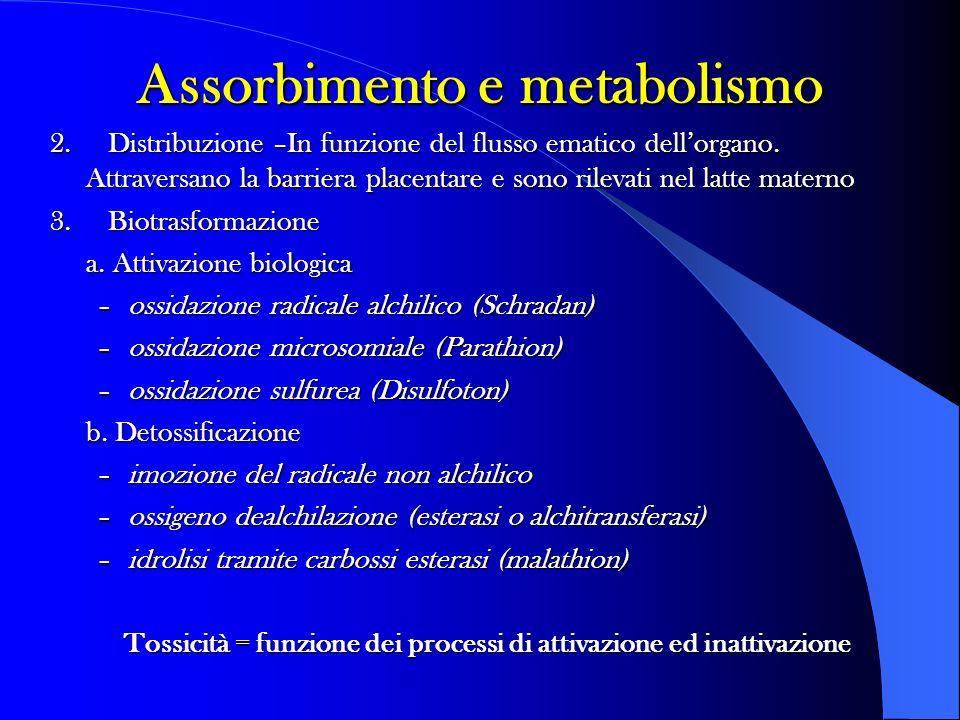 2. Distribuzione –In funzione del flusso ematico dellorgano. Attraversano la barriera placentare e sono rilevati nel latte materno 3. Biotrasformazion