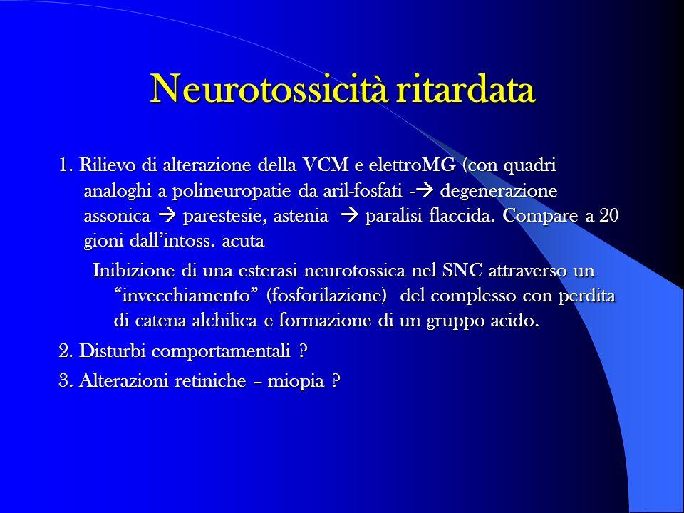 Neurotossicità ritardata 1. Rilievo di alterazione della VCM e elettroMG (con quadri analoghi a polineuropatie da aril-fosfati - degenerazione assonic
