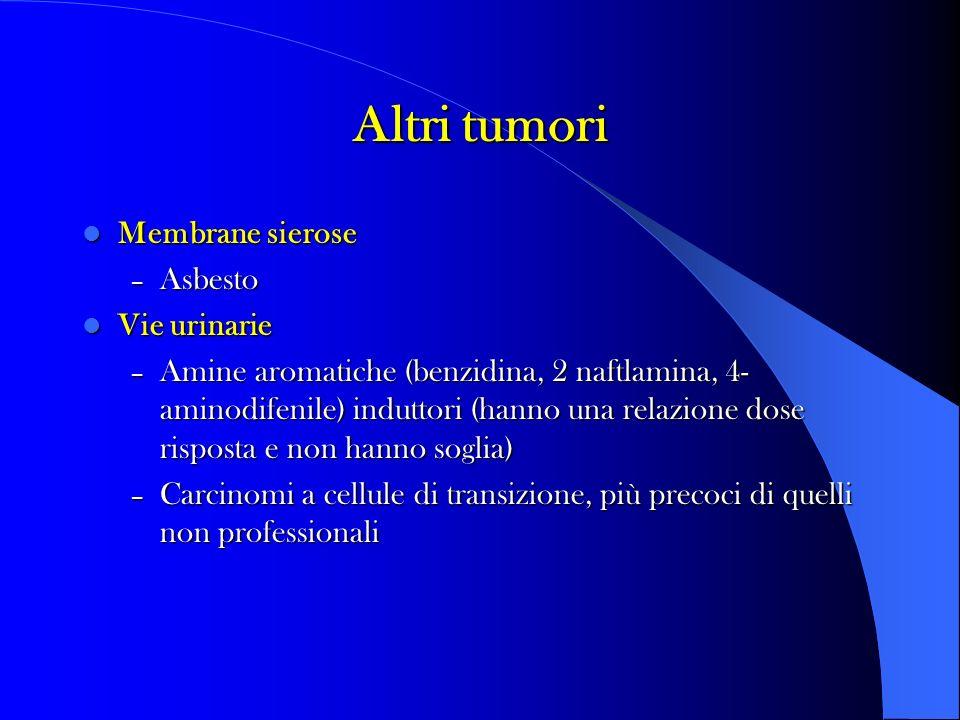 Altri tumori Membrane sierose Membrane sierose – Asbesto Vie urinarie Vie urinarie – Amine aromatiche (benzidina, 2 naftlamina, 4- aminodifenile) induttori (hanno una relazione dose risposta e non hanno soglia) – Carcinomi a cellule di transizione, più precoci di quelli non professionali