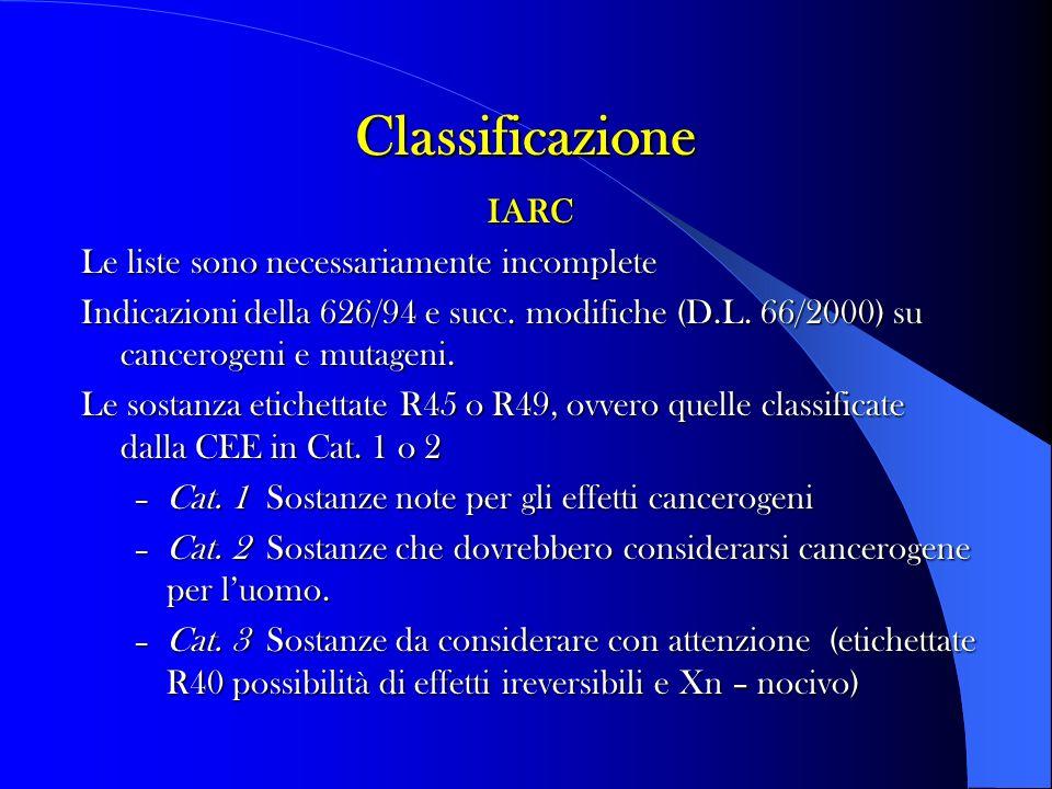 Classificazione IARC Le liste sono necessariamente incomplete Indicazioni della 626/94 e succ.