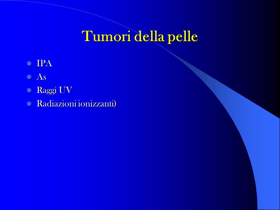 Tumori della pelle IPA IPA As As Raggi UV Raggi UV Radiazioni ionizzanti) Radiazioni ionizzanti)