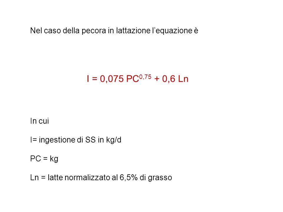 Nel caso della pecora in lattazione lequazione è I = 0,075 PC 0,75 + 0,6 Ln In cui I= ingestione di SS in kg/d PC = kg Ln = latte normalizzato al 6,5%