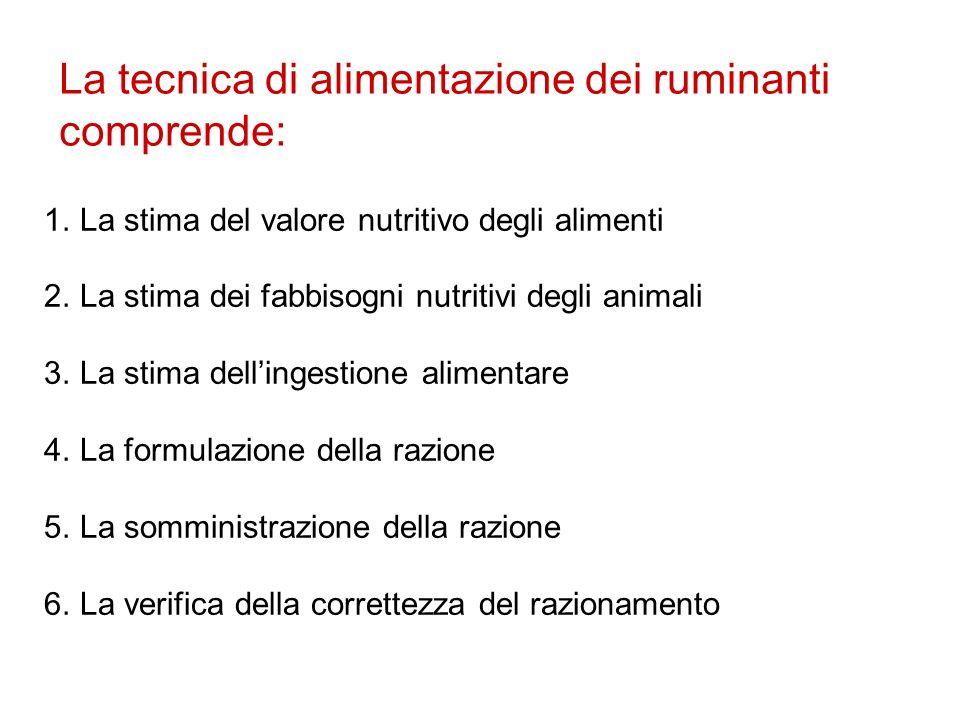La tecnica di alimentazione dei ruminanti comprende: 1.La stima del valore nutritivo degli alimenti 2.La stima dei fabbisogni nutritivi degli animali