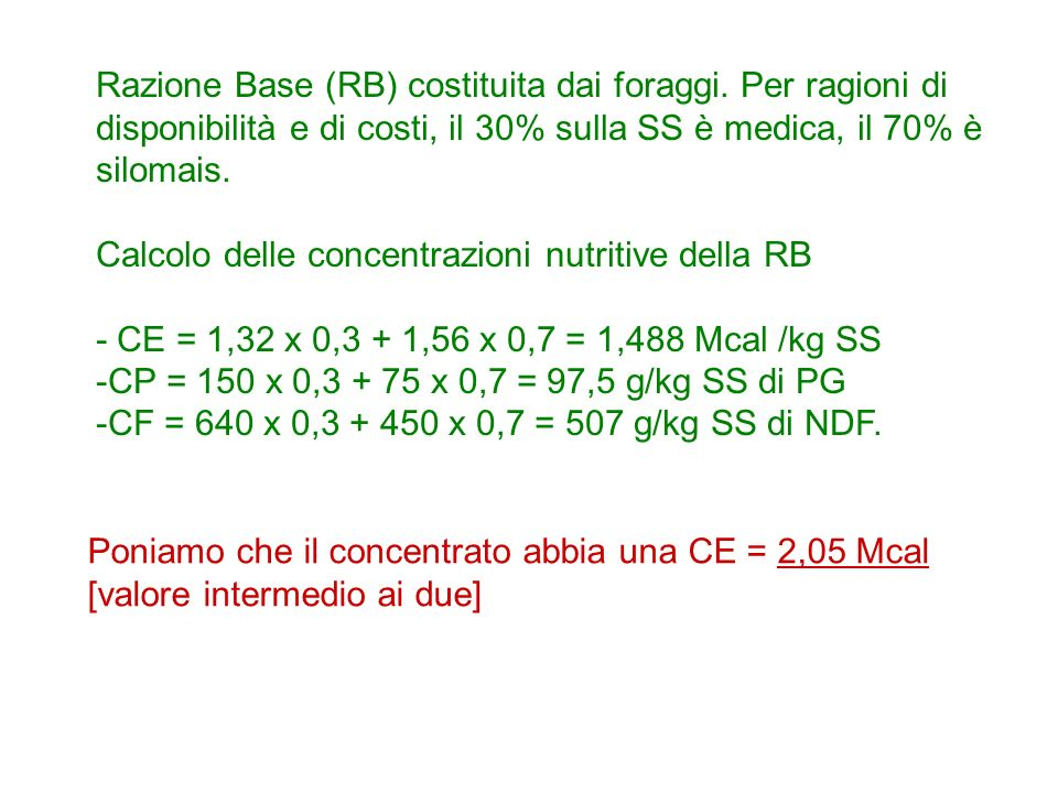 Razione Base (RB) costituita dai foraggi. Per ragioni di disponibilità e di costi, il 30% sulla SS è medica, il 70% è silomais. Calcolo delle concentr