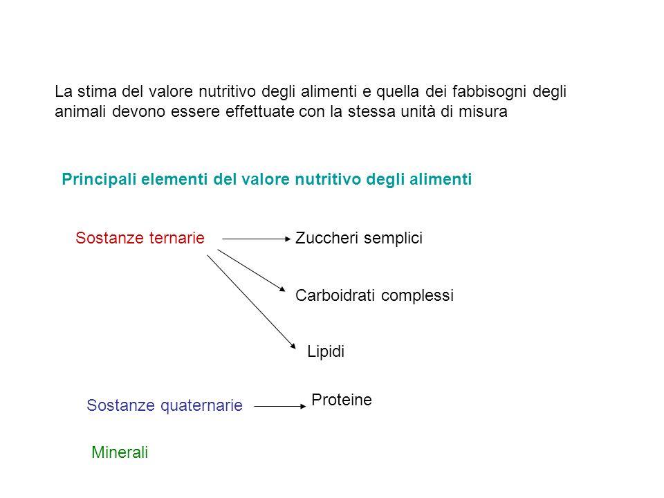 La stima del valore nutritivo degli alimenti e quella dei fabbisogni degli animali devono essere effettuate con la stessa unità di misura Principali e