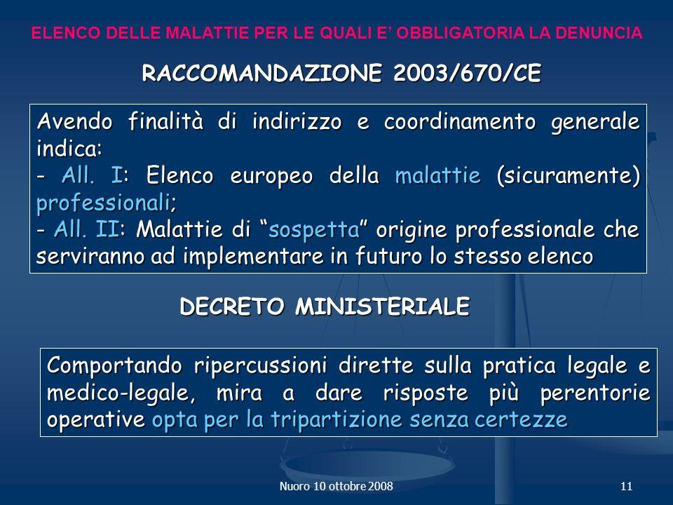 Nuoro 10 ottobre 200811 ELENCO DELLE MALATTIE PER LE QUALI E OBBLIGATORIA LA DENUNCIA RACCOMANDAZIONE 2003/670/CE Avendo finalità di indirizzo e coordinamento generale indica: - All.