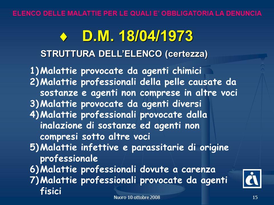 Nuoro 10 ottobre 200815 ELENCO DELLE MALATTIE PER LE QUALI E OBBLIGATORIA LA DENUNCIA D.M.