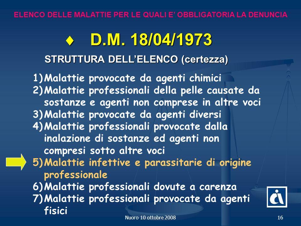 Nuoro 10 ottobre 200816 ELENCO DELLE MALATTIE PER LE QUALI E OBBLIGATORIA LA DENUNCIA D.M.