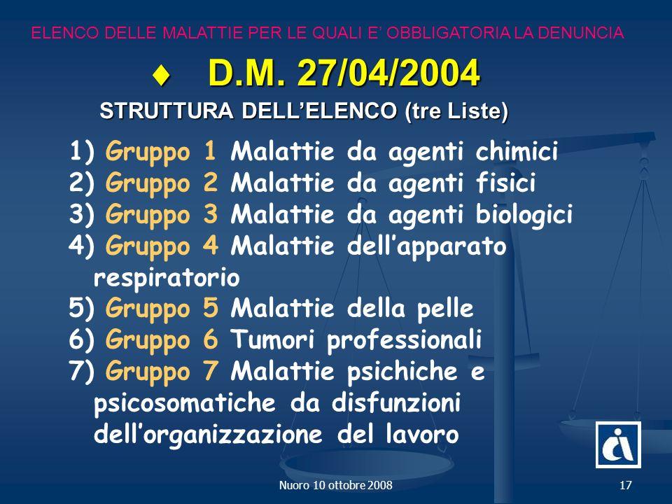 Nuoro 10 ottobre 200817 ELENCO DELLE MALATTIE PER LE QUALI E OBBLIGATORIA LA DENUNCIA D.M.