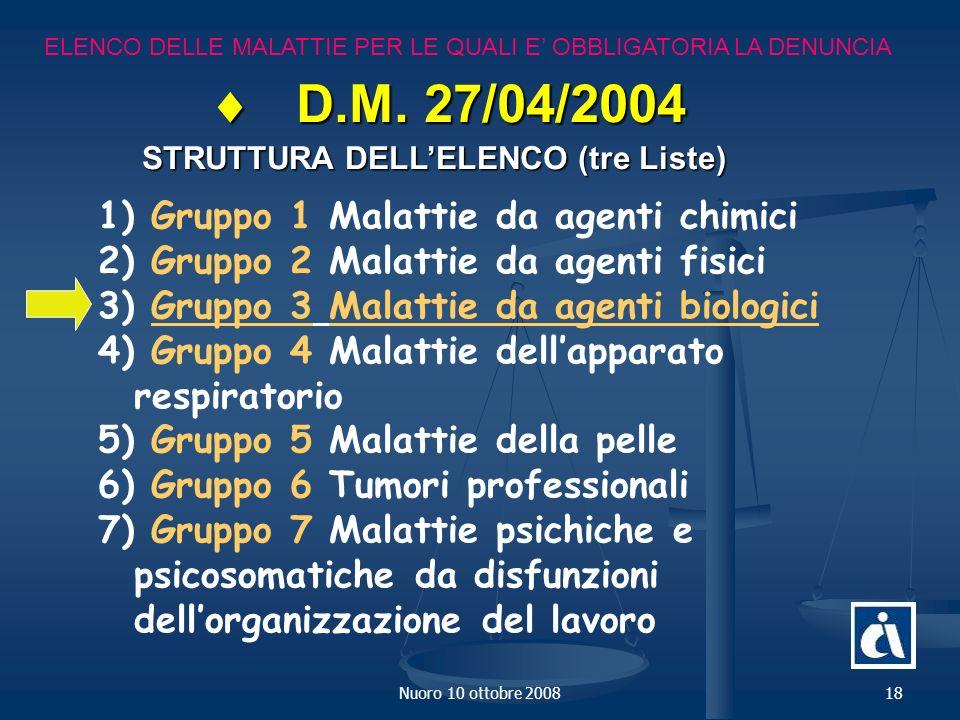Nuoro 10 ottobre 200818 ELENCO DELLE MALATTIE PER LE QUALI E OBBLIGATORIA LA DENUNCIA D.M.